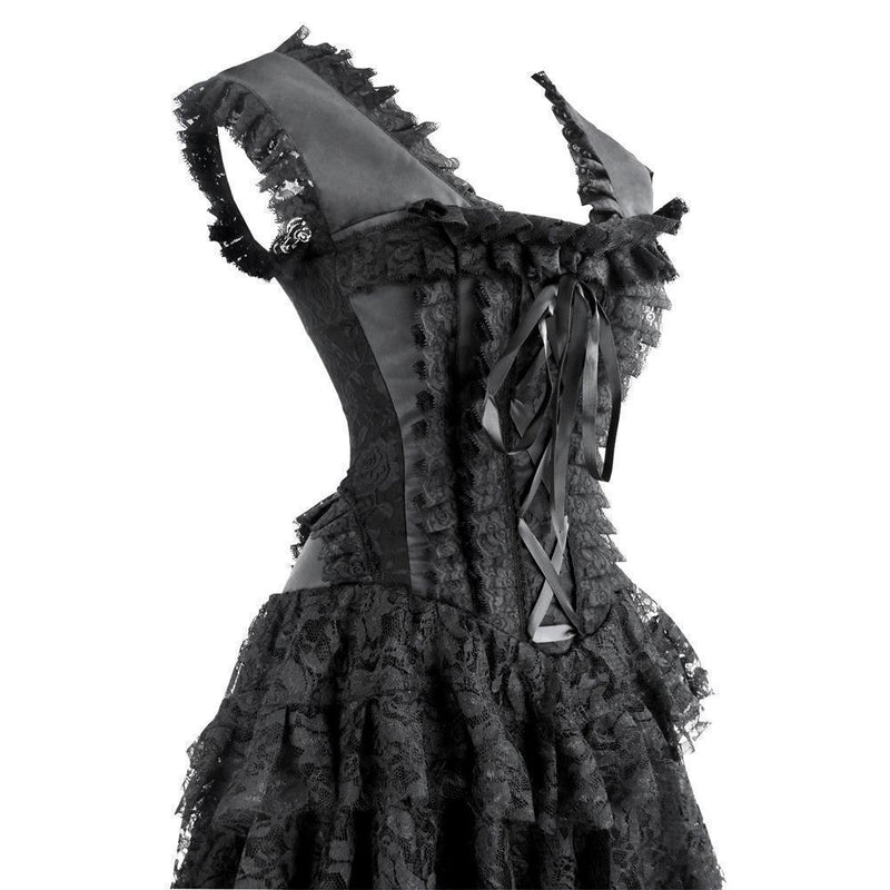 Hot Long Gothic Asymmetrical Lace Corsets-Black-S-