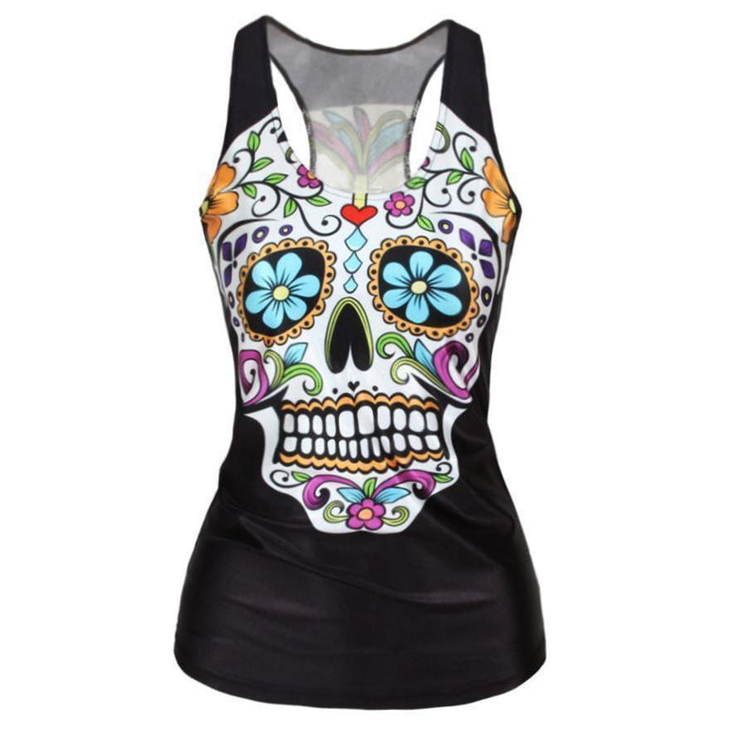 Hot Rainbow Floral Skeleton Head T-Shirt-Sugar Skull-S-