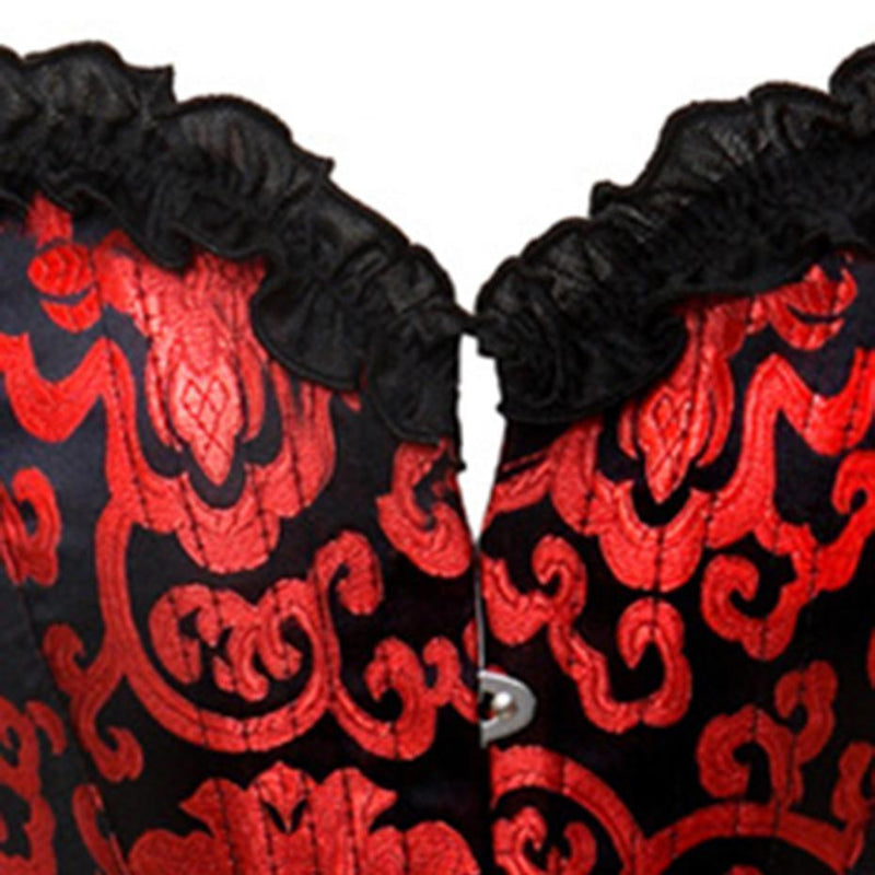 Hot Red Floral Print Gothic Corset - The Black Ravens