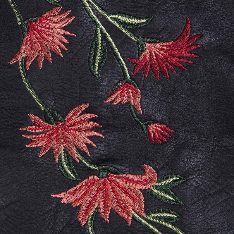 Hot Red Flower Embroidery Leather Mini Skirt-Black-S-