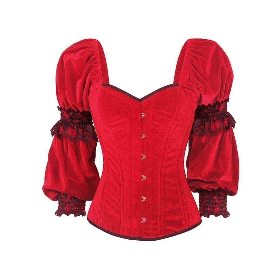 Hot Red Vintage Slim Casual Lace Corset-Red-S-