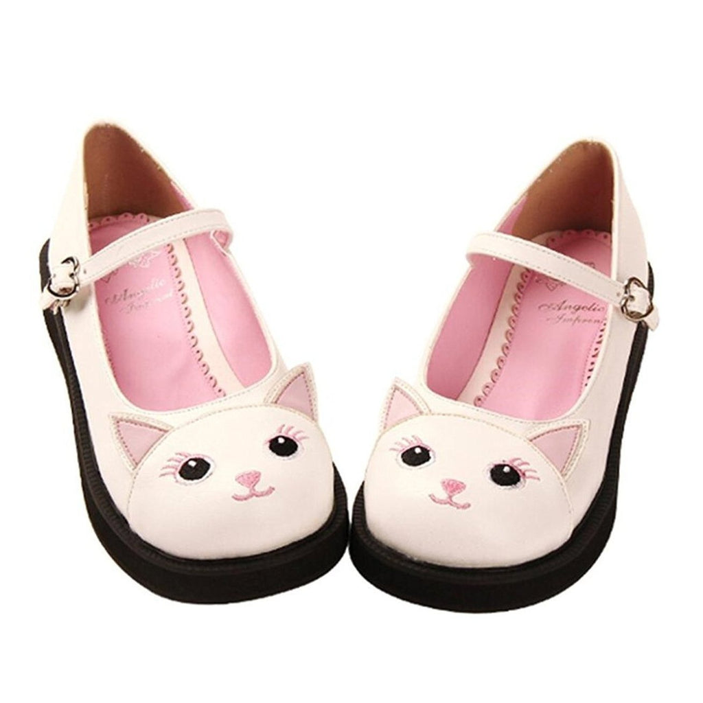 Kawaii Kitty Mary Jane Lolita Shoes-White-5-