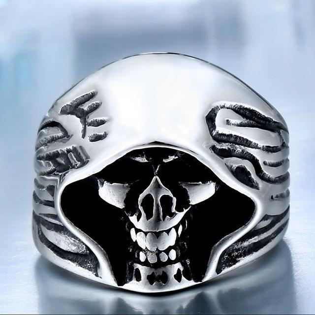 Kickass Grim Reaper Gothic Rings-7-Silver Plated-