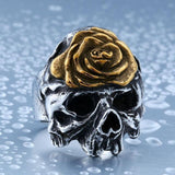 Kickass Silver Flower Skeleton Head Rings-11-Gold-