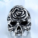 Kickass Silver Flower Skeleton Head Rings-11-Silver-