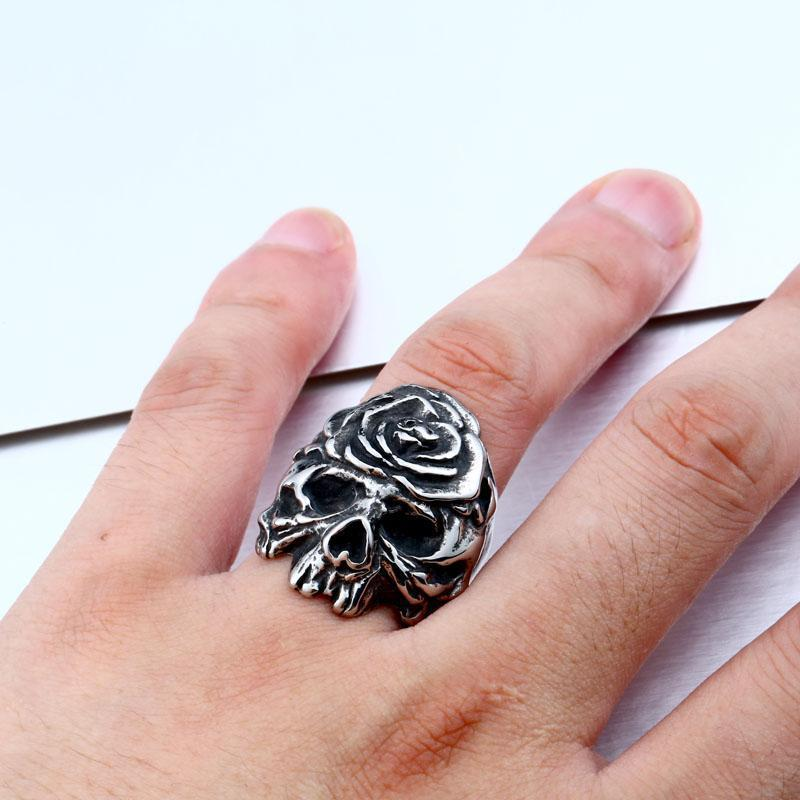Kickass Silver Flower Skeleton Head Rings-7-Silver-