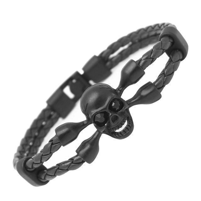 Killer Creepy Genuine Cowhide Skeleton Bracelets For Guys-Black-