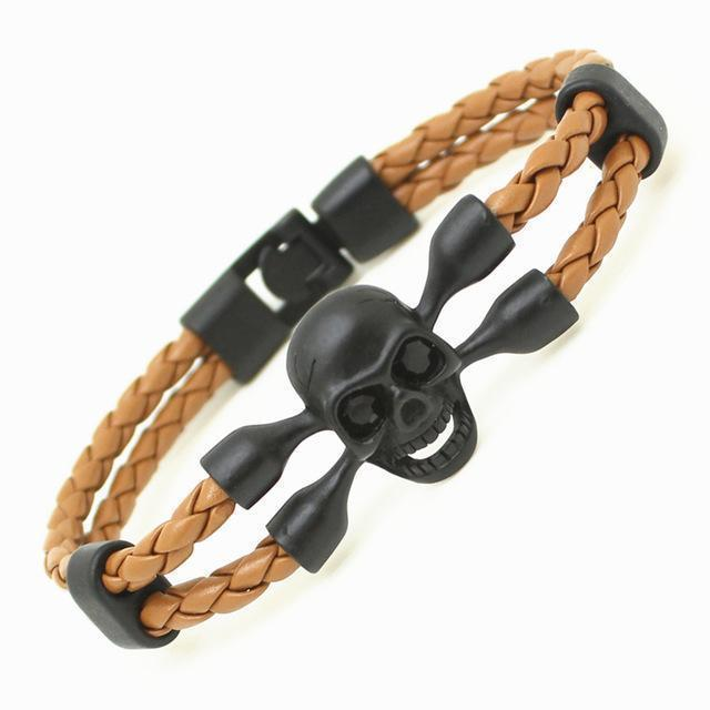 Killer Creepy Genuine Cowhide Skeleton Bracelets For Guys-Brown-