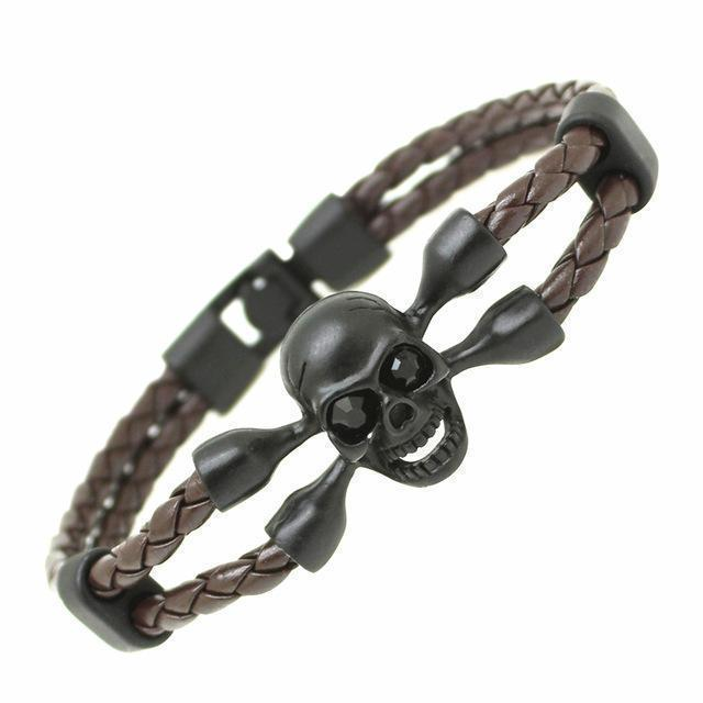 Killer Creepy Genuine Cowhide Skeleton Bracelets For Guys-Coffee-
