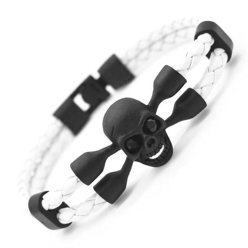 Killer Creepy Genuine Cowhide Skeleton Bracelets For Guys-White-