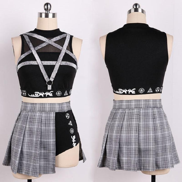 Kinky Punk Rocker Pentagram Crop Top-Black-L-