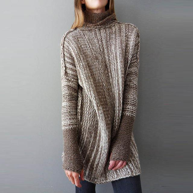 Knitted Winter Sweater For Women-Brown-S-