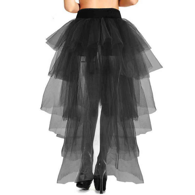 Lace Back Summer Gothic Maxi Skirts-Black-S-