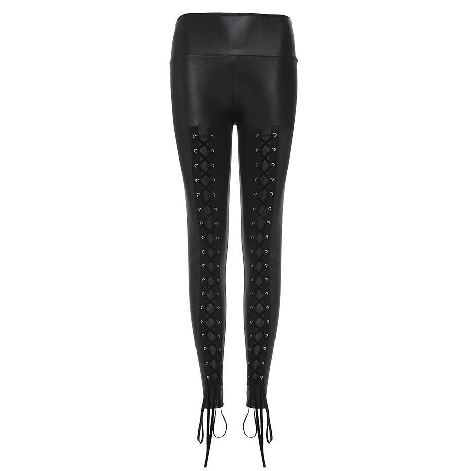 Lace Bandage Stretchy Leggings For Women - The Black Ravens