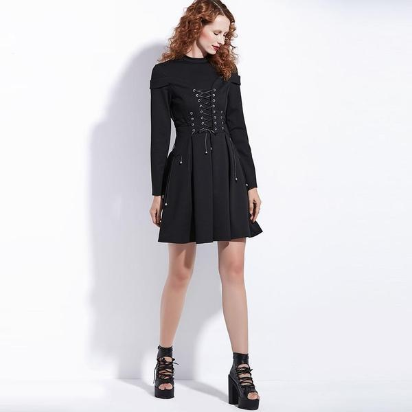 Lace-Up Bandage Gothic Dress - The Black Ravens