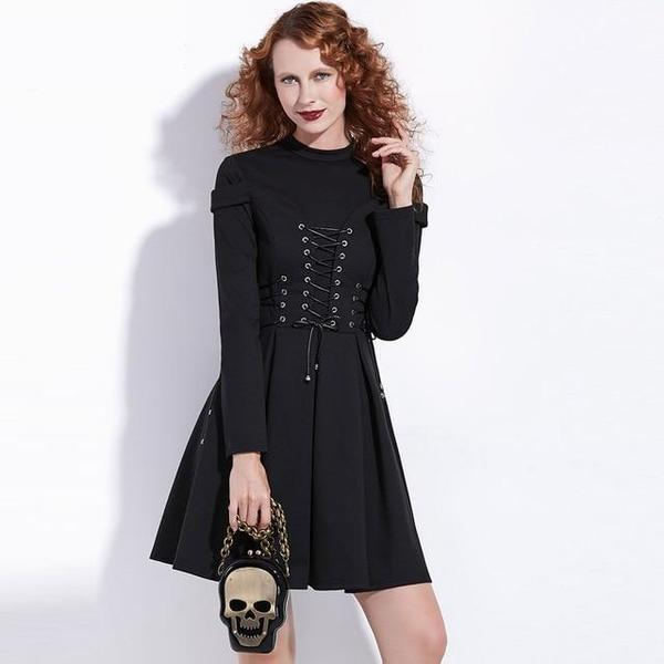 Lace-Up Bandage Gothic Dress-S-
