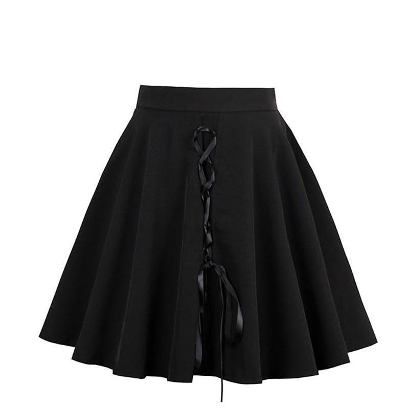 Lace-Up Black Lolita Mini Skirts-Black-S-