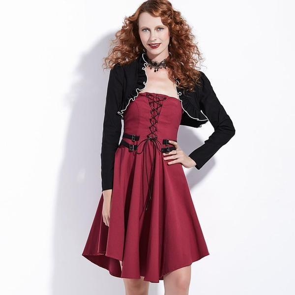 Lace-Up Red Dress And Vest Wear-S-
