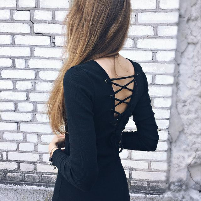 Lace-Up Sexy Back Gothic Bodycon - The Black Ravens