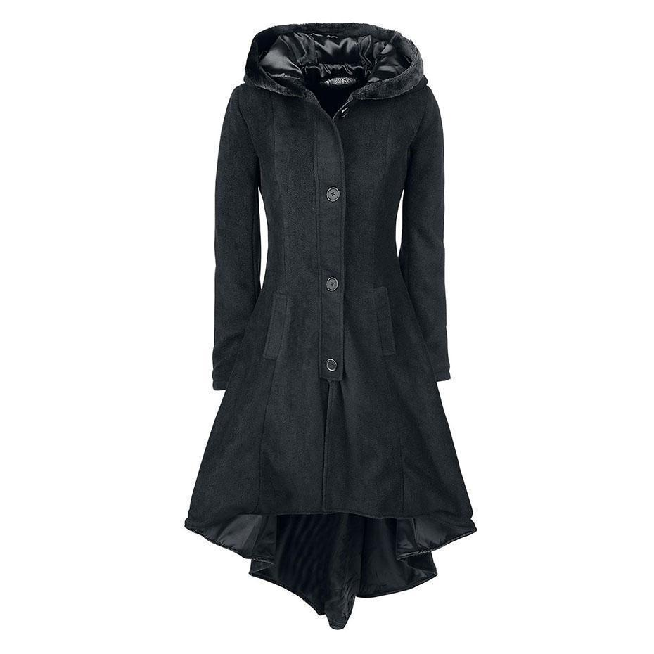 Lace-Up Vintage Winter Hooded Trench Coat - The Black Ravens