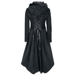 Lace-Up Vintage Winter Hooded Trench Coat-Black-M-