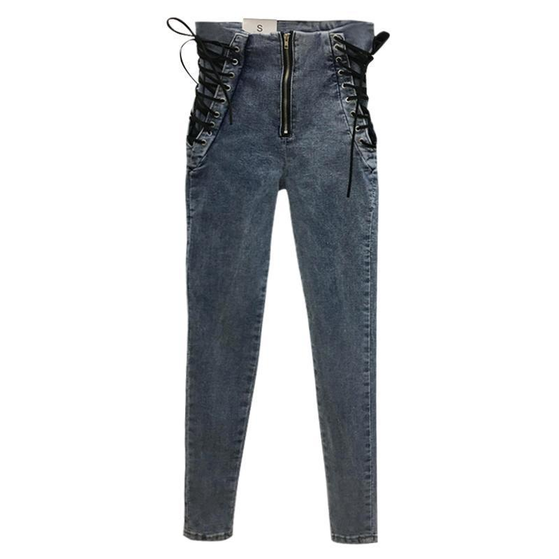 Laced-Up Waist Ladies' Denim Pants - The Black Ravens