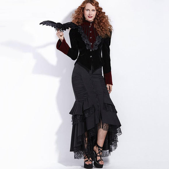 Lacey Fishtail Vintage Gothic Skirts-Black-S-