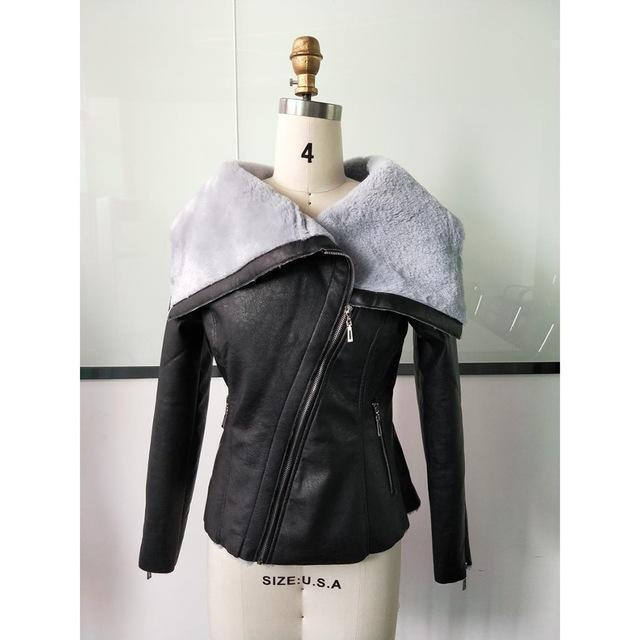 Ladies' Asymmetrical Leather Jacket-M-