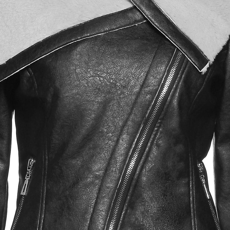 Ladies' Asymmetrical Leather Jacket - The Black Ravens