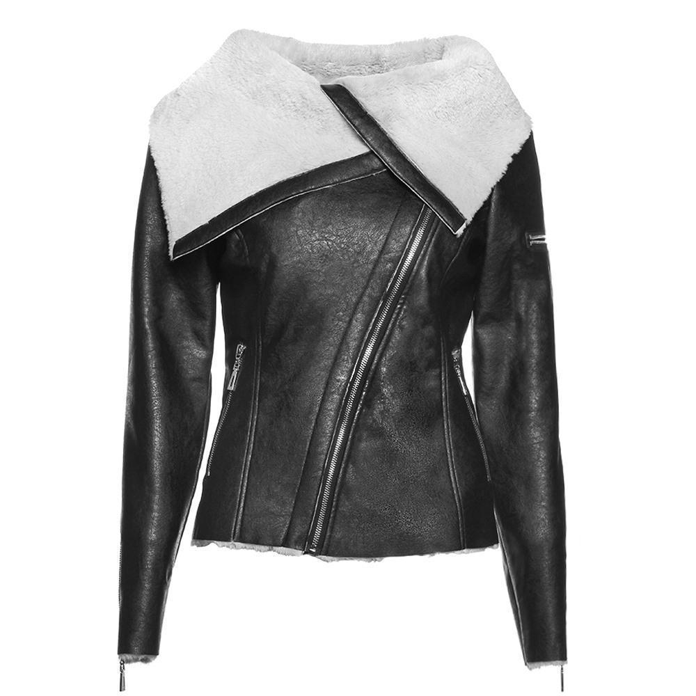 Ladies' Asymmetrical Leather Jacket-S-