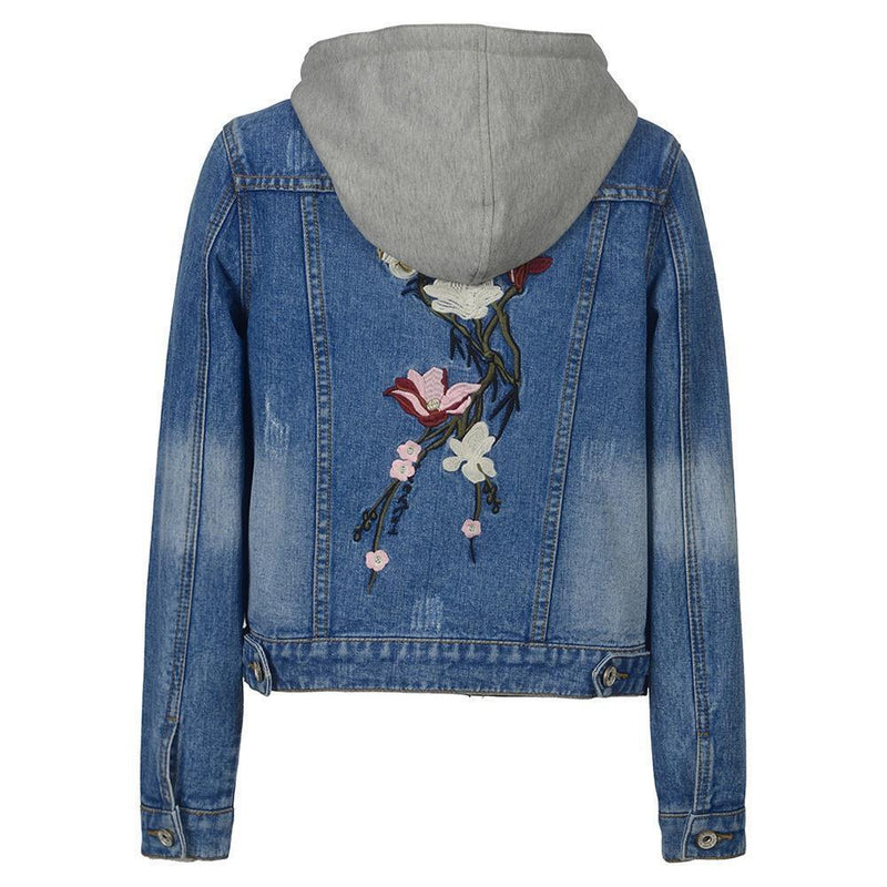 Ladies' Casual Grunge Denim Hoodie-S-