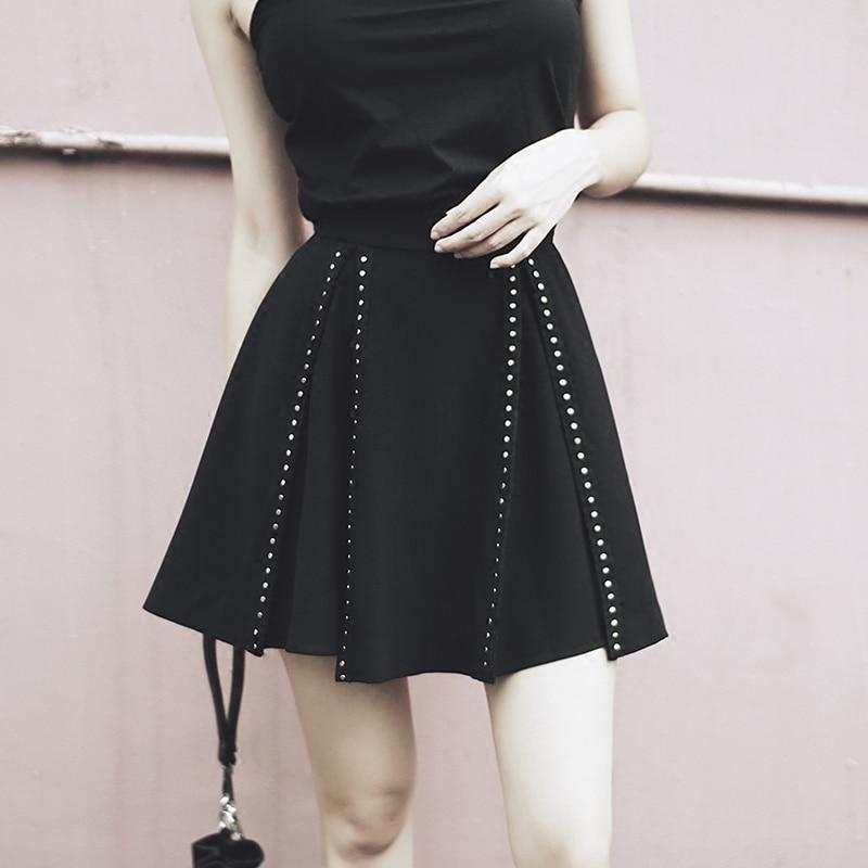 Ladies Emo Metal Studded Skirt-S-