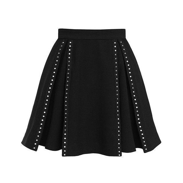 Ladies Emo Metal Studded Skirt-XL-