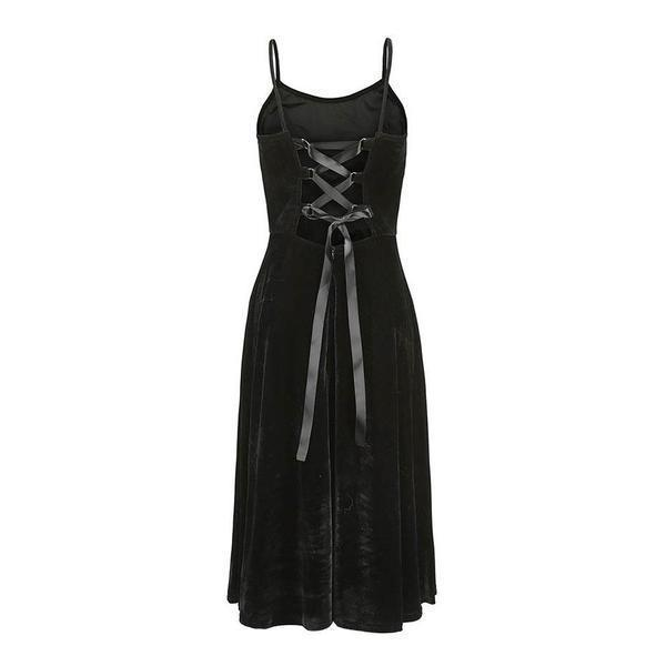 Ladies' Gothic Sexy Back Dress - The Black Ravens