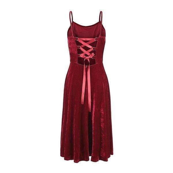 Ladies' Gothic Sexy Back Dress-Burgundy-S-