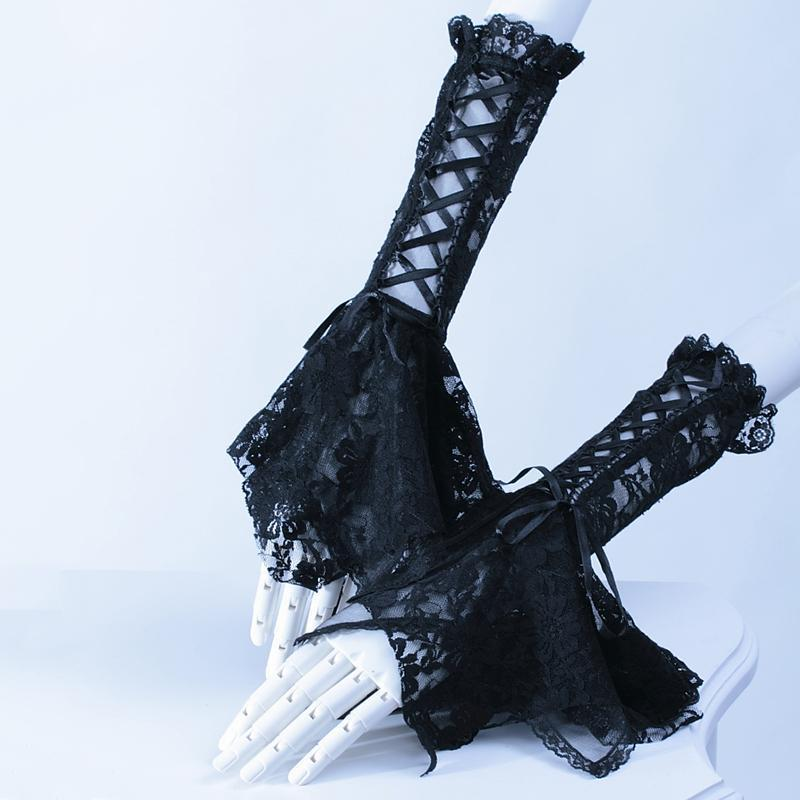 Ladies Gothic Vintage Lace Up Gloves-Black-One Size-