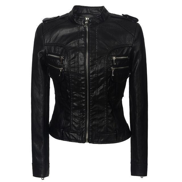 Ladies' Grunge Zippered Leather Jacket-Black-S-