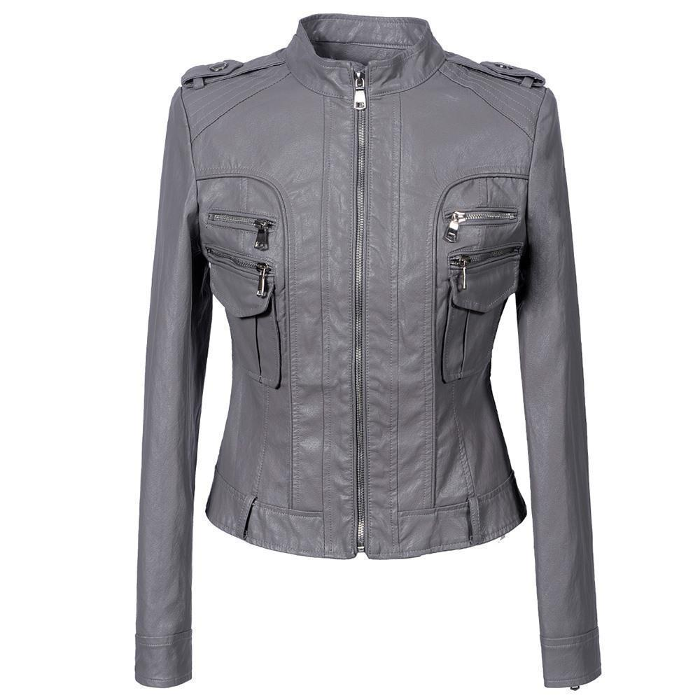 Ladies' Grunge Zippered Leather Jacket-Gray-S-