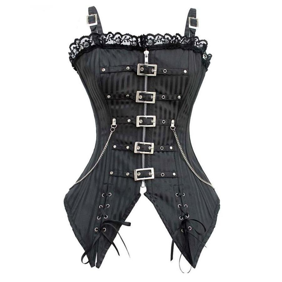 Ladies Hot Body-Shaping Goth Bodice-Black-2Xl-1