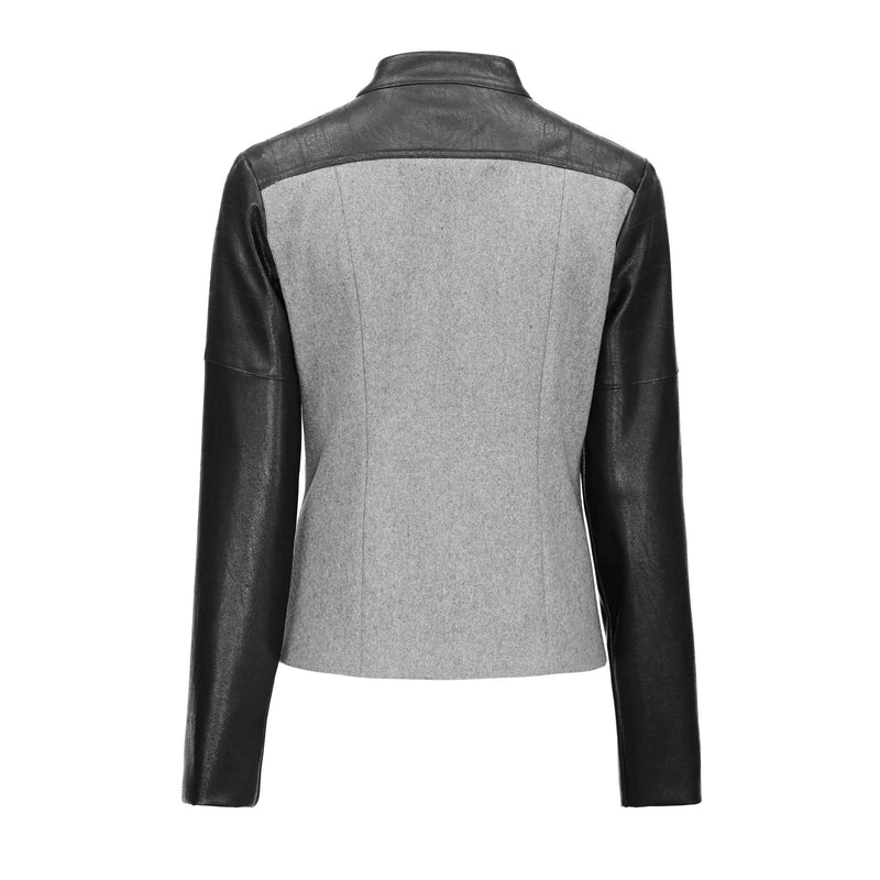 Ladies' Mandarin Collar Basic Outerwear-S-
