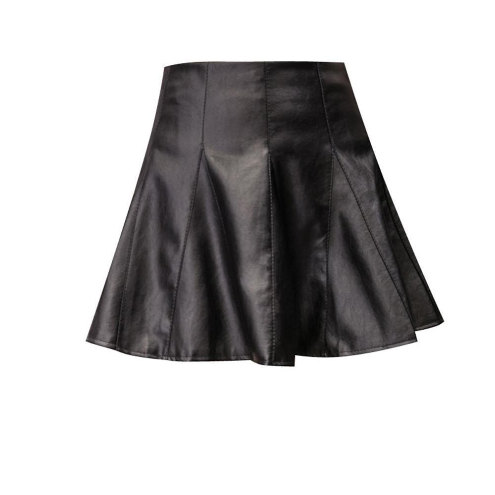 Ladies' Pleated Leather Mini Skirt-S-