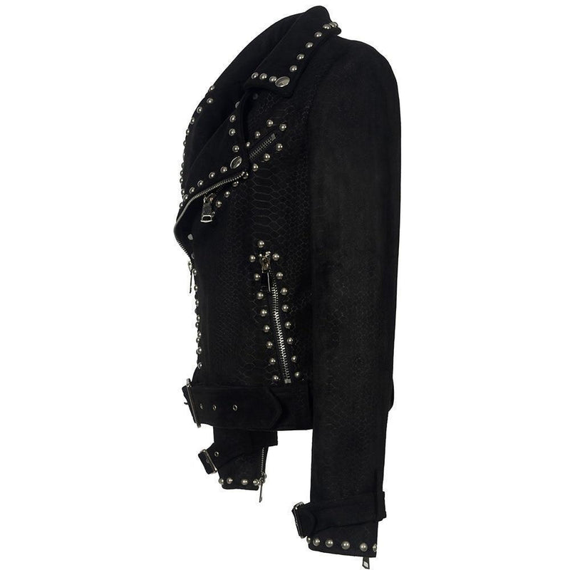 Ladies' Punk Buckled Leather Jacket - The Black Ravens