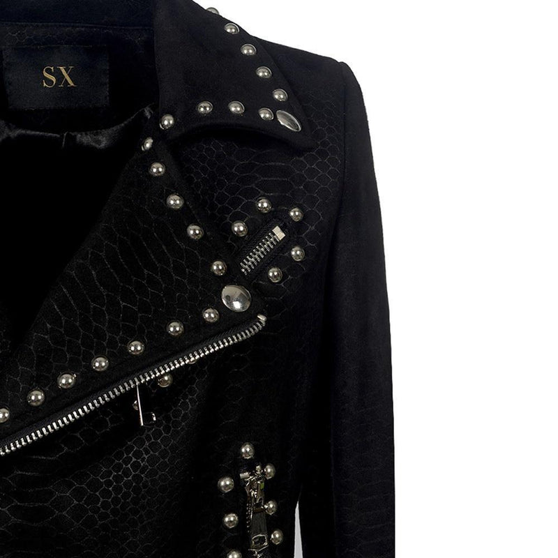 Ladies' Punk Buckled Leather Jacket-S-