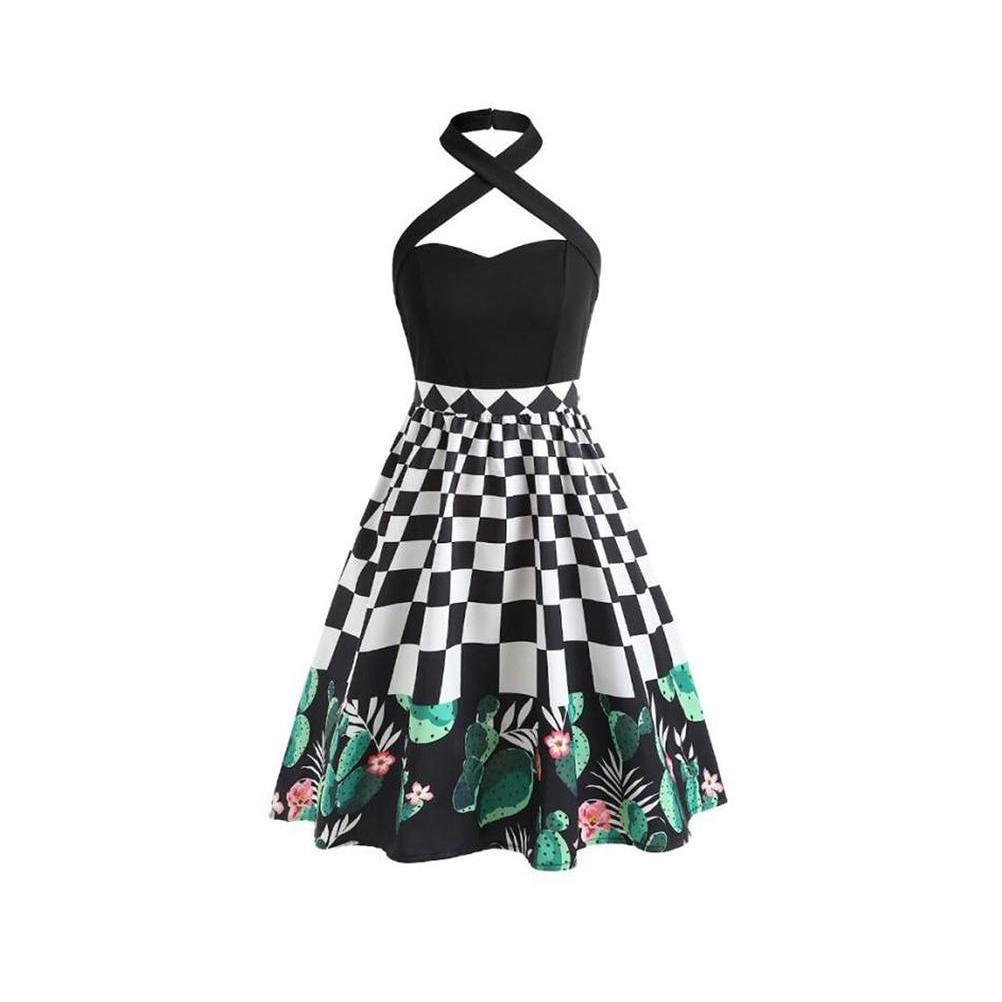 Ladies Punk Halter Cactus Dress - The Black Ravens