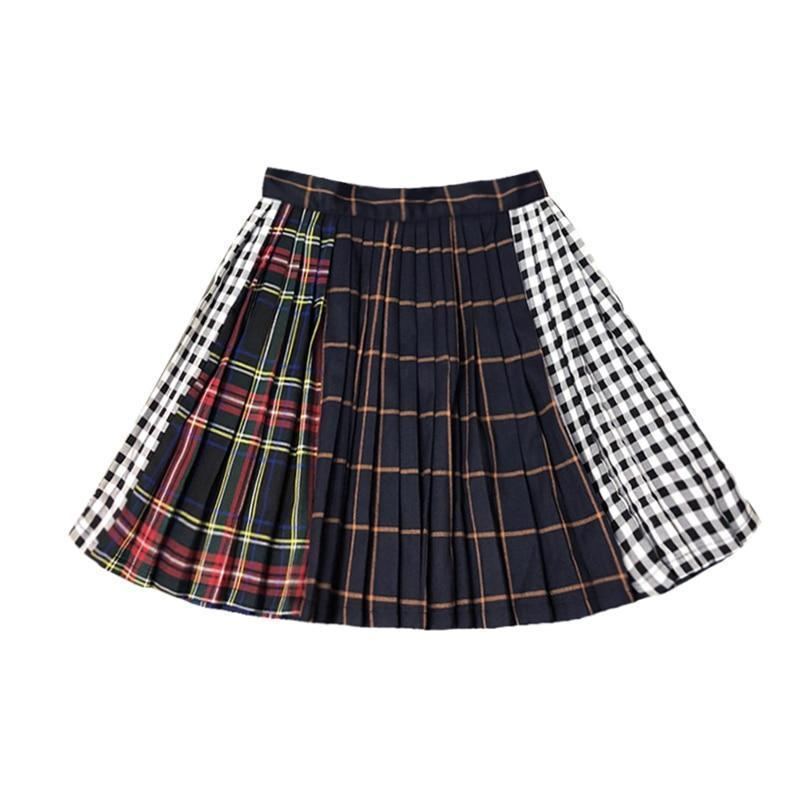 Ladies Punk Pleated Mini Skirt-S-