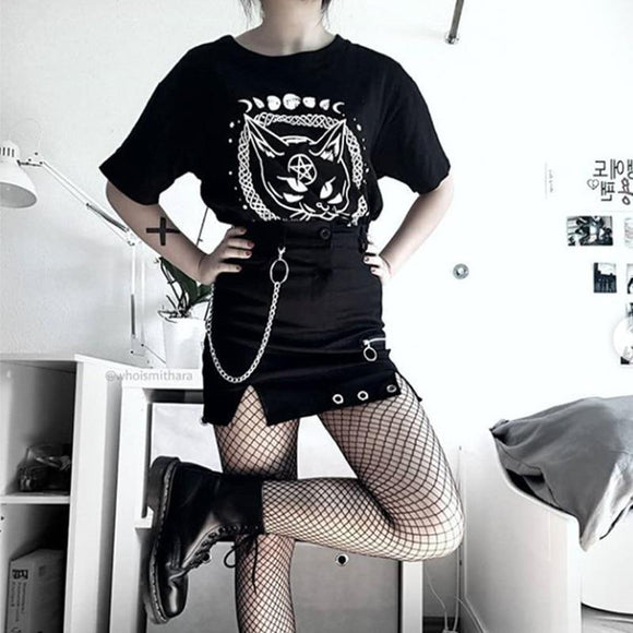 Ladies Sexy Emo Mini Skirt-S-