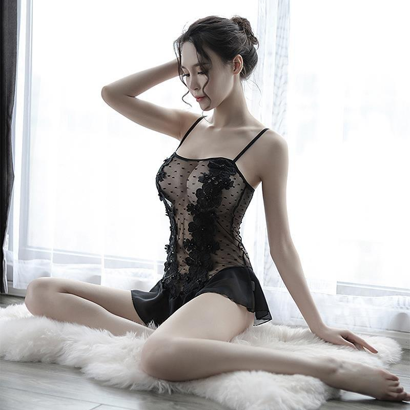 Ladies' Sexy Lace Mini Night Gown - The Black Ravens