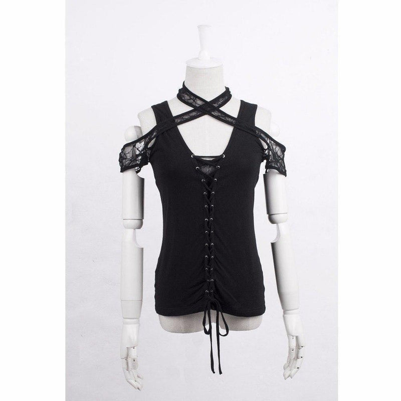 Ladies Sexy Spider Web Black Top-M-