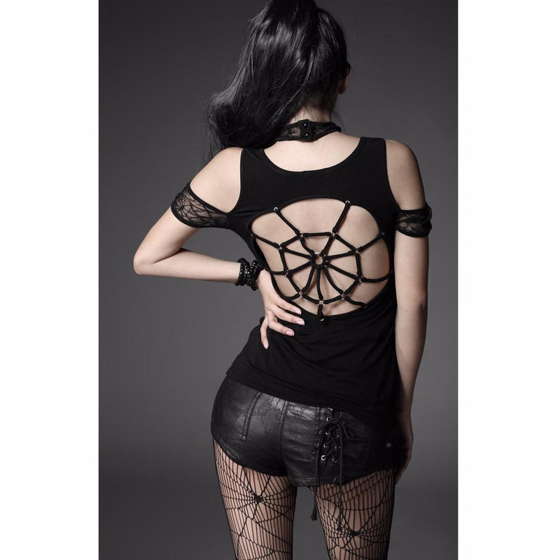 Ladies Sexy Spider Web Black Top - The Black Ravens