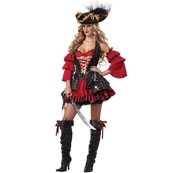 Ladies Tight Pirates Costumes-M-pirate-